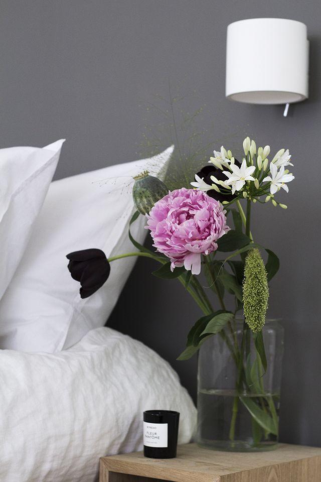 Mole's Breath by Farrow&Ball in bedroom via Coffee Table Diary