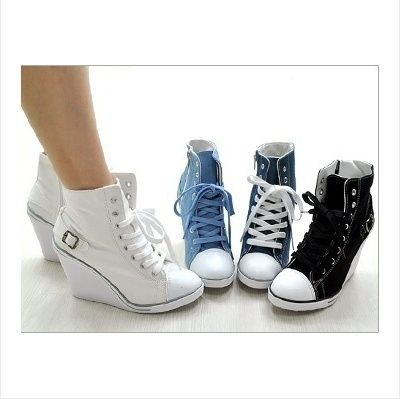 bc81378267cf6f Women Canvas Wedge High Heels High Top Sneakers Boots shoes. So cute ...