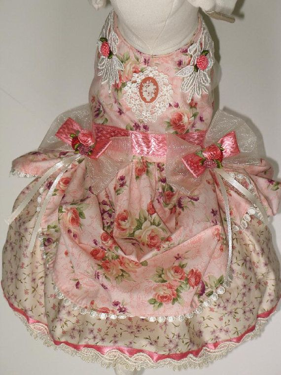 Coral Pink Victorian Dog or Cat Dress by FantasyPupFashions, $48.00