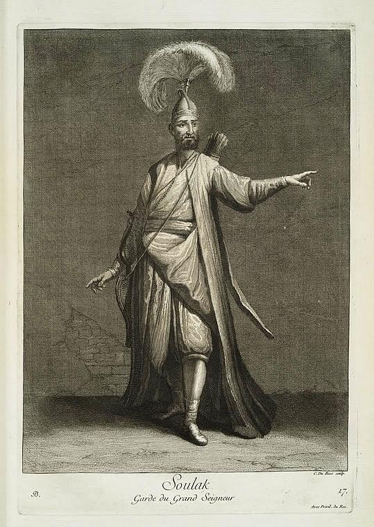 Ottoman solak, (sultans guard).