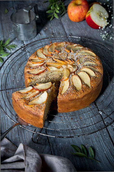 Apfelkuchen aus gesunden Zutaten (fettarm und zuckerreduziert).