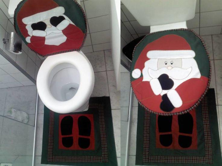 Conjunto de banheiro Papai Noel 3 peças!    01- Tampa vaso  01 - Tapete  01- Toalha de Rosto