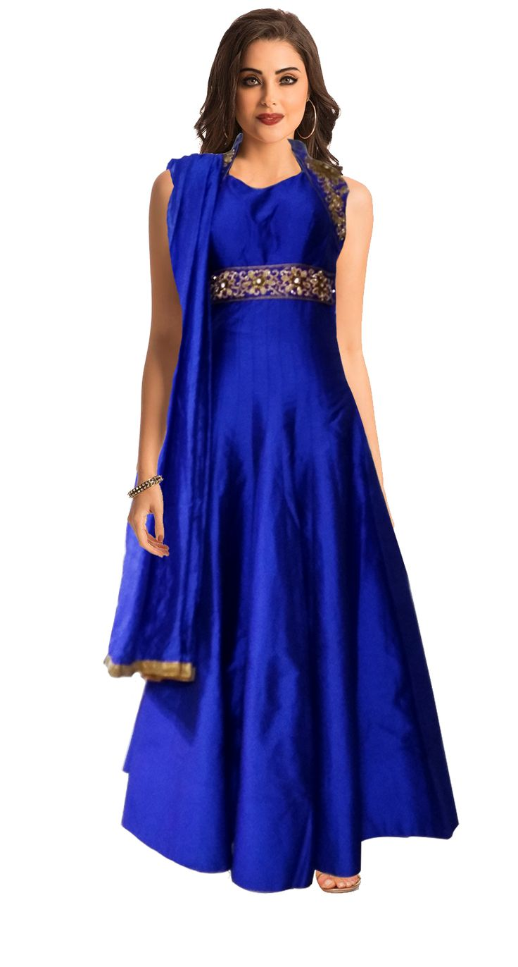 This Mesmerising royal blue designer gown is an ideal way to look perfect, stylish and untouched for the fashion to come. This enchanting blue gown has a yoke which is embellished with a beautiful blend of zardosi work, thread work, zari work and rhinestones. It has a Chinese collar and beautiful trapezium shaped cutout on the back to give a truly glamourous look.