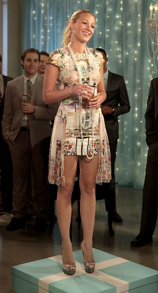 """It may have been Blair's birthday but Serena stole the show in a bold printed dress, classic strand of pearls and show stealing peep toe slingbacks by Christian Louboutin on Gossip Girl """"All The Pretty Sources"""". Shop the shoes: http://www.pradux.com/christian-louboutin-winter-trash-pumps-1446?q=s1"""