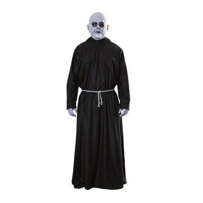 Addams family Fester kostuum voor volwassenen. Dit mooie Addams family Fester kostuum is inclusief gewaad, de touwriem en het Fester masker.