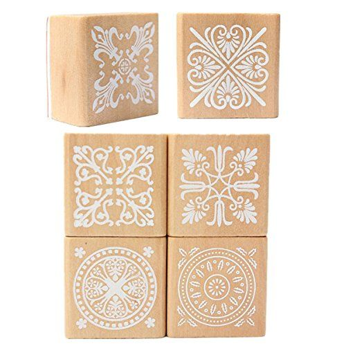 KINGSO 6pcs Lace Pattern Wooden Rubber Stamp Square Handw...