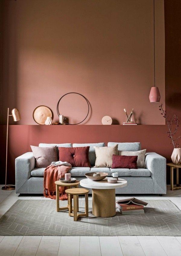 Wandfarbe Apricot Der Frische Trend Bei Der Wandgestaltung In 40 Beispielen Wohnzimmer Farblich Gestalten Wandfarbe Wohnzimmer Wohnen
