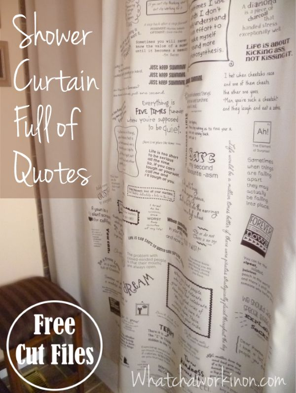 Shower curtain filled with favorite quotes in heat