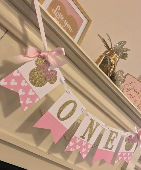 Pink Gold First Birthday High Banner And Minnie