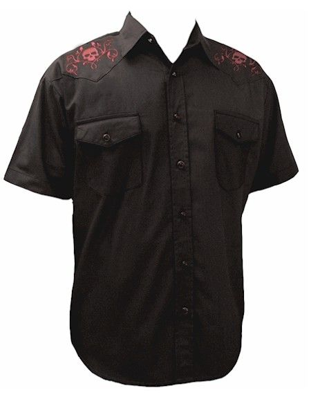 Skull & Roses Rockabilly Shirt  __ One of the most popular rockabilly shirts out there, the mens black skull and rose embroidery on the yokes, variegated snaps, short-sleeve western rockabilly shirt is very classy and not over stated.