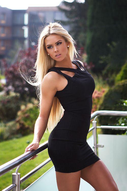 Hot sexy blonde black dress