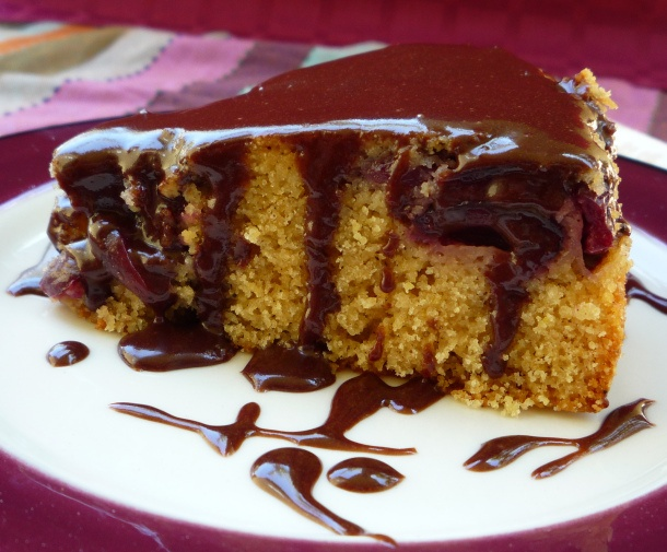 cherry chocolate cornmeal cake with chocolate glaze