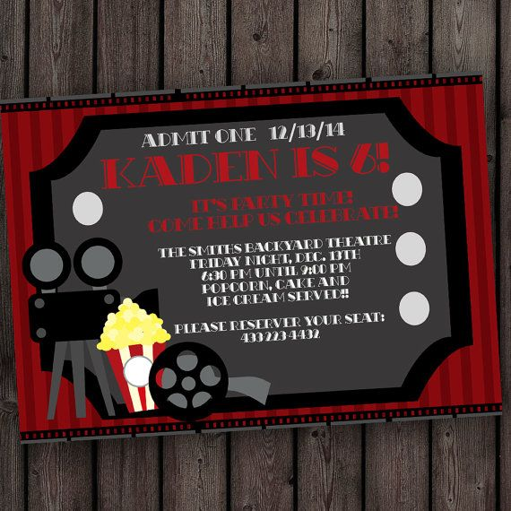 movie ticket invitation  movie party invitation  free
