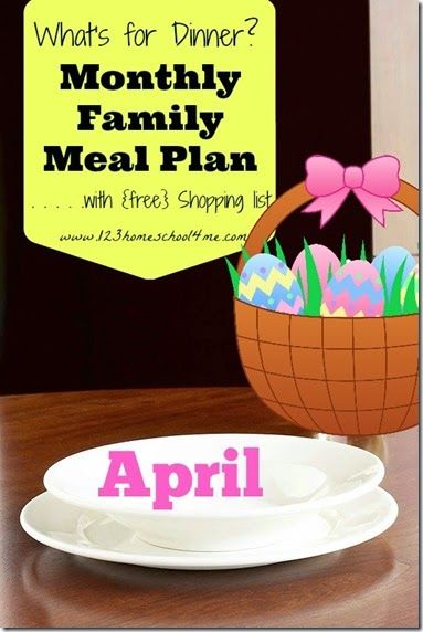 ♥ April Family Meal Plan ♥ - 4 weeks of Menus (including Easter) with recipes and weekly printable grocery list! Perfect for families who want to eat healthy on a budget!