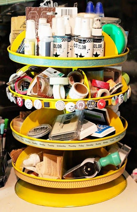The Little Blue House- revolving storage bins are a great storage solution for your craft room- Valerie Bishop- LBH Media Team
