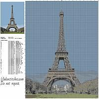 The Eiffel Tower famous place in France free cross stitch pattern size 200 x 267 stitches about 40 DMC threads needed