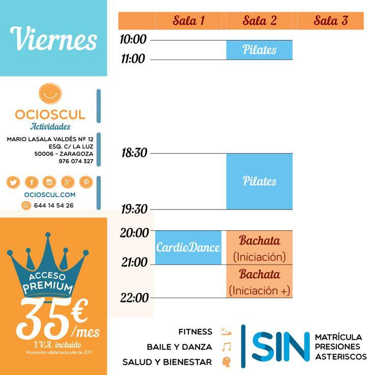 Buenos Días #Zaragoza Actividades del viernes: #Pilates #Cardiodance #Bachata Iniciación e Iniciación+