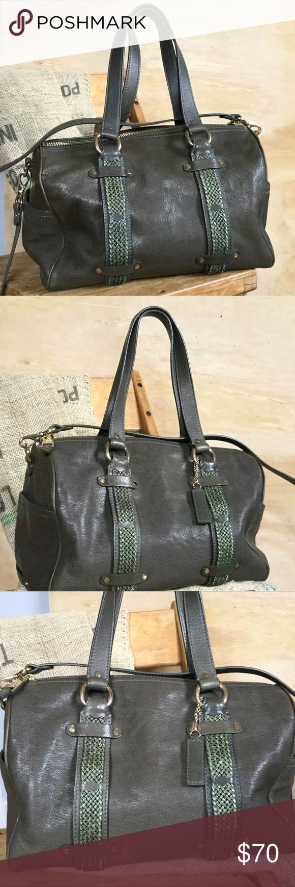 Cole Haan dark green leather tote This is a Cole Haan very dark green leather purse. Excellent condition! No scratches, scuffing or cracking. The interior is in intact with no stains. Detachable shoulder strap. This purse has been used, but well taken care of. Cole Haan Bags Totes