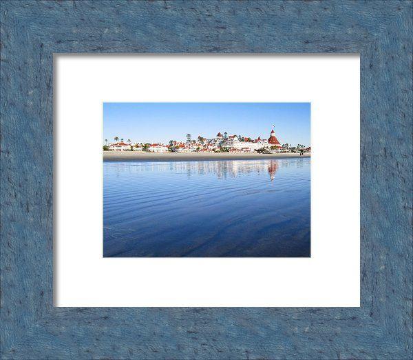 "Small desk sized - 8"" X 6"" Hotel Del Coronado Low Tide Framed Print By Sharon French"