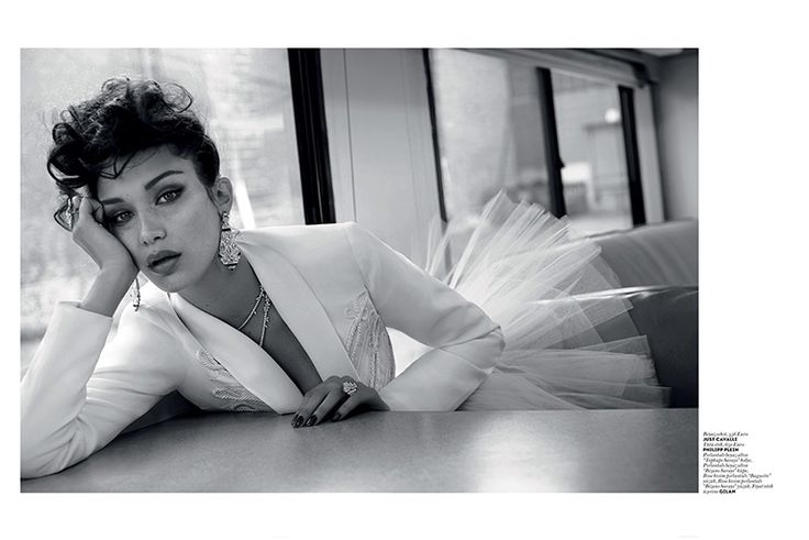 Captured in black and white, Bella Hadid models Just Cavalli jacket with Philipp Plein tulle ballerina skirt