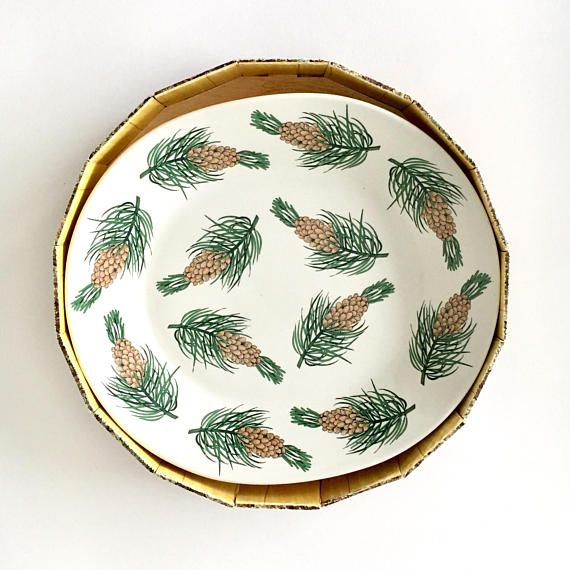 With original box/Rare vintage Arabia Finland big ceramic plate with Pine cones pattern designed by Birger Kaipiainen, 1970s,Made in Finland