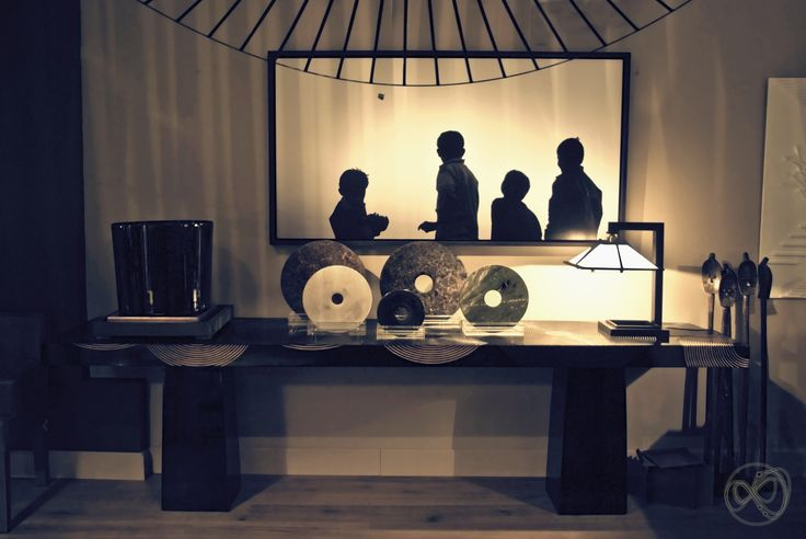 Jade (Bi) disks by Andrew Martin, teak wooden console by Arts et Matieres, Yamagiwa TALIESIN table lamp (Frank Lloyd Wright original design), Andrea Mete photo, Petite Friure VERTIGO lamp  #living #petitfriture #photo #franklloydwright #teak #furniture