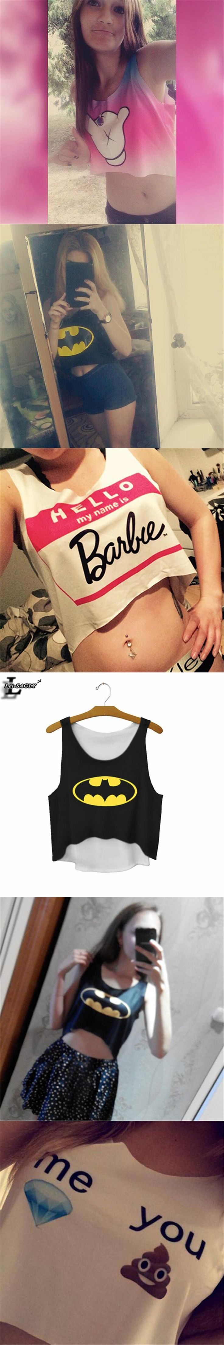 Lei-SAGLY The Batman Sign Cartoon Printed Black Crop Tops Summer Elastic Cute Sexy Tank Top Fitness Women Cropped Vest F669