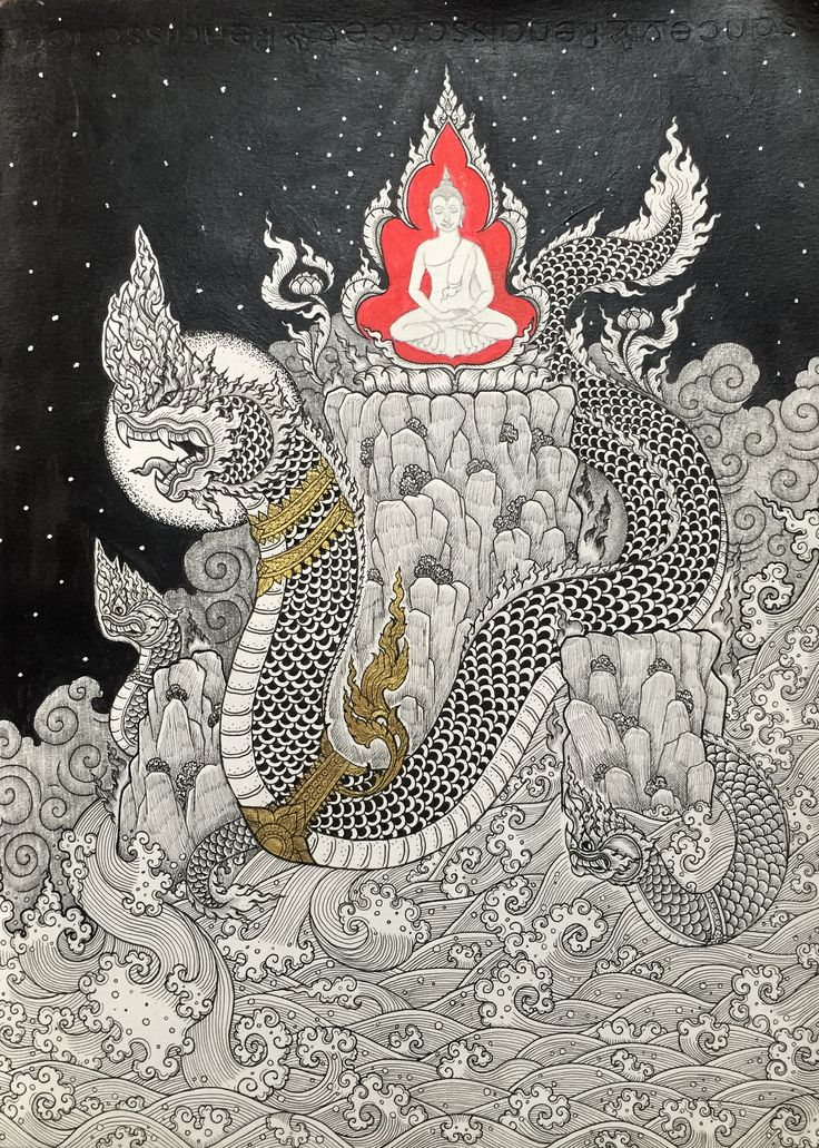 Naga protecting Buddha นาคาอารักษ์ -Ink on paper #thai #art #naga #buddha…
