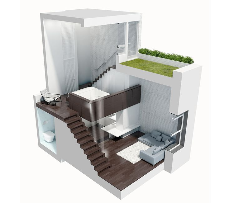 Манхэттен, кирпичные стены, зонирование по высоте…– в этой квартире было все, чтобы стать идеальным, пусть и крошечным лофтом. И она им стала.