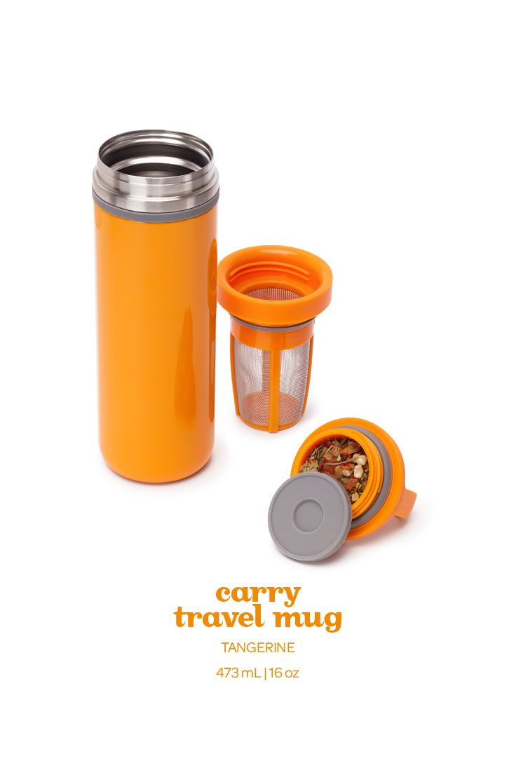 Add a pop of colour to your on-the-go sipping with this bright orange travel mug.