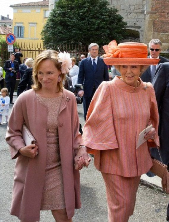 Princess Beatrix of the Netherlands (R) and Princess Margarita of Bourbon-Parma attend the christening of Dutch Princess Cecilia of Bourbon-Parma in the Cathredral of Piacenza, 05.04.14.