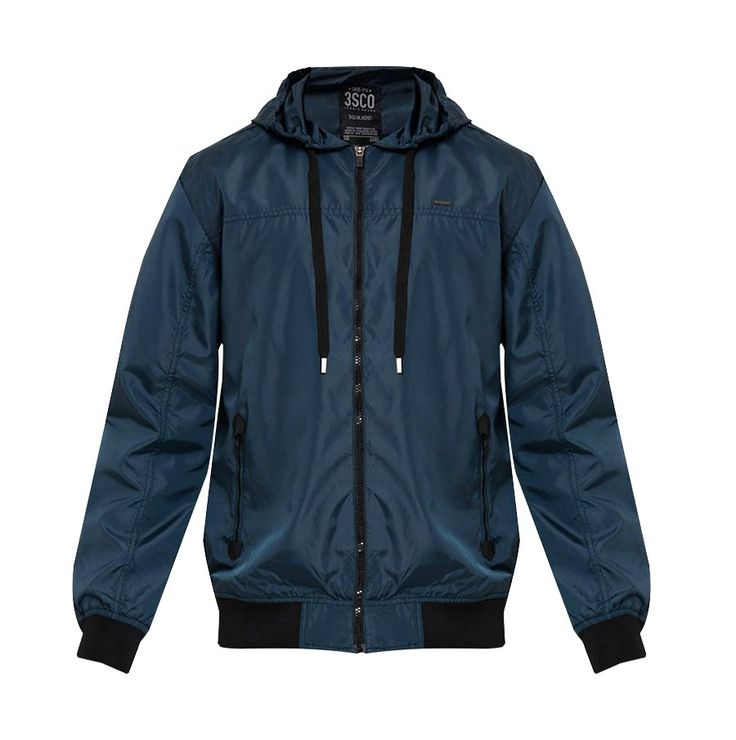 Sport Windbreaker by 3SECOND. Windbreaker jacket with navy blue color, made from nylon fabric, perfect windbreaker for running or for cycling, side pocket, and it has hoodie. This long sleeve wind breaker sure can go casual or sporty.  http://www.zocko.com/z/JFnDX