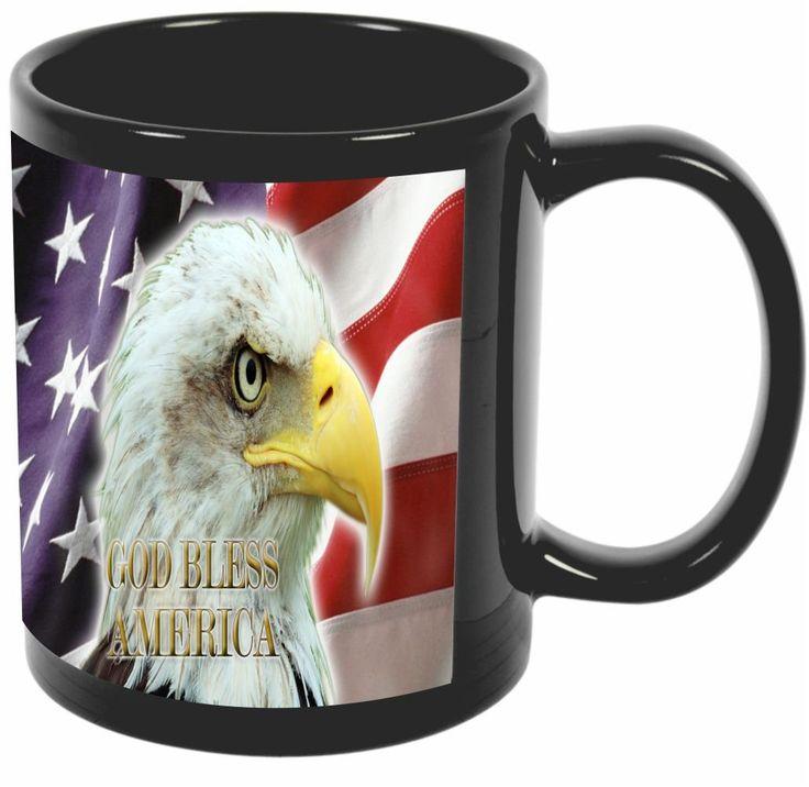 Rikki Knight American Flag Eagle Design 11 oz Photo Quality BLACK Ceramic Coffee Mugs Cups - Dishwasher and Microwave Safe
