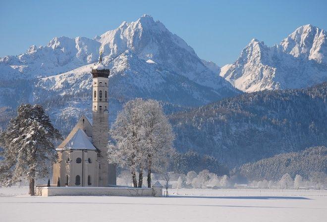 зима, природа, храм, церковь, горы, снег, поселок, красиво, лес