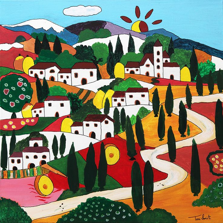 Tuscany. Italy. Made by Dutch Painter Ton Smit. 50 cm x 50 cm. Paintings are for sale.