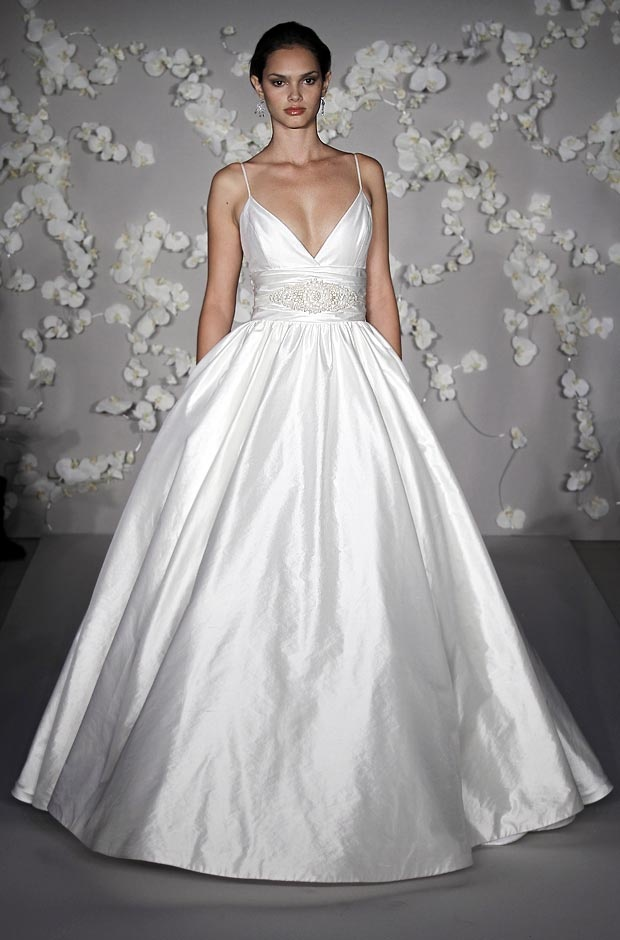 Wedding Dress Ball Gown Deep Plunge Neck Ahhhh So Dramatic