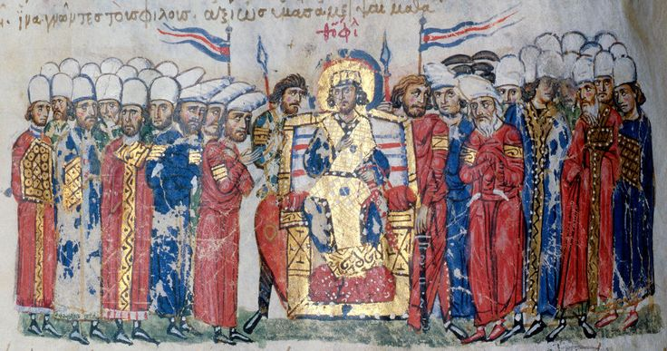 Theophilus making a proclamation. He is flanked by his bodyguard who are bare-headed. Ranks of officials are distinguished by their headgear.