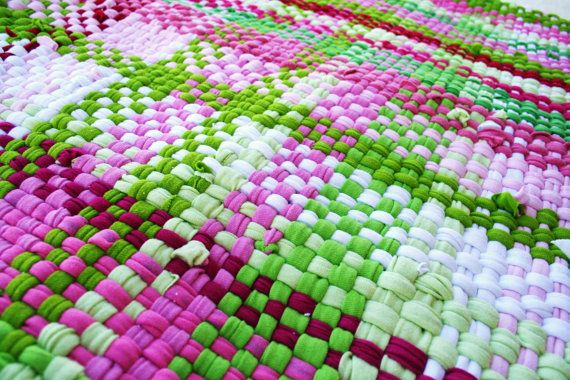 Rag rug woven from recycled tshirts pink and by TheSomedayHouse, $65.00
