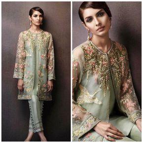 Paquistaní vestido - Elan Eden colección inspirada chaqueta bordada con pitillo