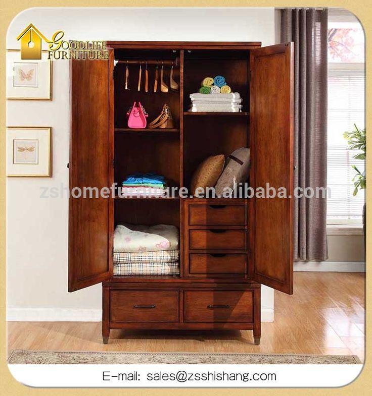 Doble puerta de armario ropero de madera con 2 cajones for Roperos para dormitorios pequenos