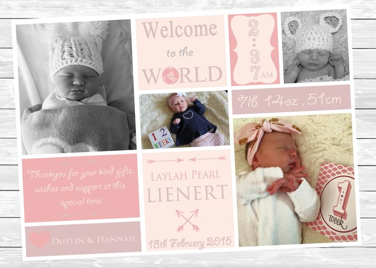 Baby Girl Birth Announcement    ~ PRINT YOURSELF ~ Birth Announcements, Thankyou Card, Photo Collage, Birthday Invitations, Custom Design ~ by LittleFeetInvites on Etsy