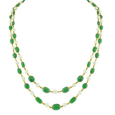 Jpearls Emerald Gold Necklace   2 Strands Gold Chain with Emeralds and Pearls
