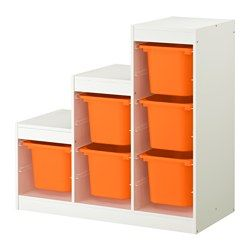 IKEA - TROFAST, Storage combination, , A playful and sturdy storage series for storing and organizing toys, sitting, playing, and relaxing.The frame comes with guide rails, so you can place boxes and shelves where you want them, and change them any time.Low storage makes it easier for children to reach and organize their things.