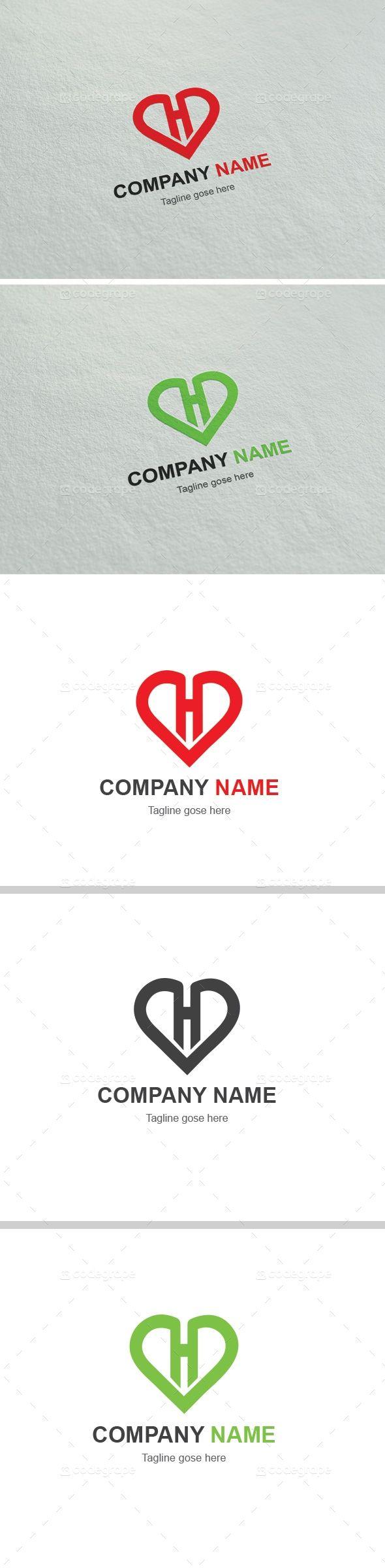 Heart H Letter Logo - http://www.codegrape.com/item/heart-h-letter-logo/5845