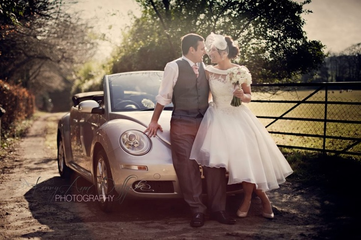 www.kerryannduffy.com Kerry Ann Duffy Photography Wedding photography Vintage wedding. Birdcage veil. Beetle wedding car