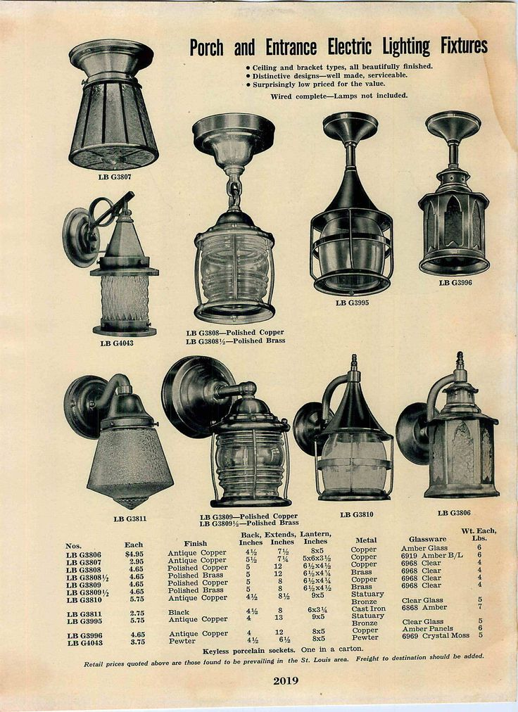 Porch Lights 1939 Simmons Keen Kutter Lighting Catalog