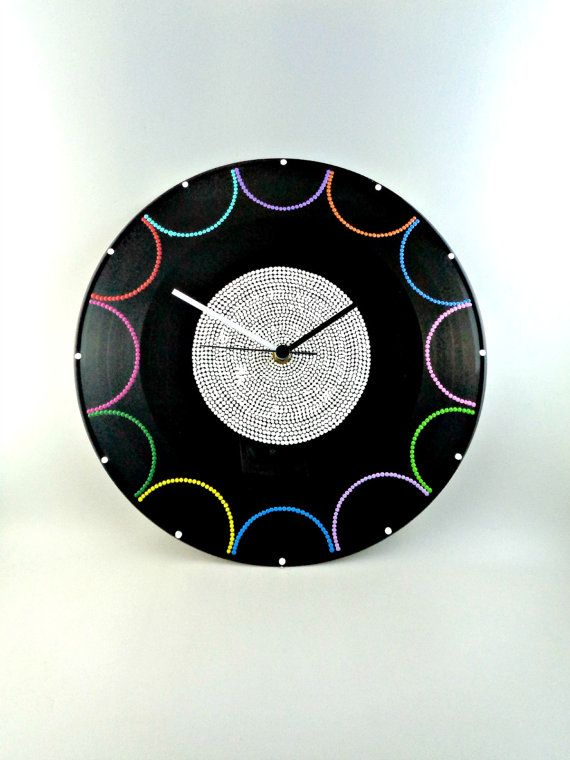Semi Circles Vinyl Clock Hand Painted Upcycled by InsaneDotting