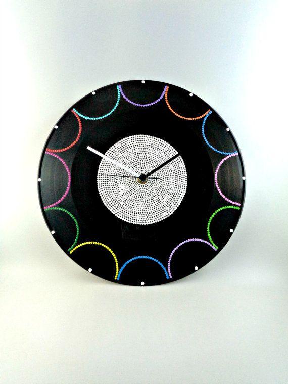 Semi Circles Vinyl Clock Hand Painted Upcycled by InsaneDotting