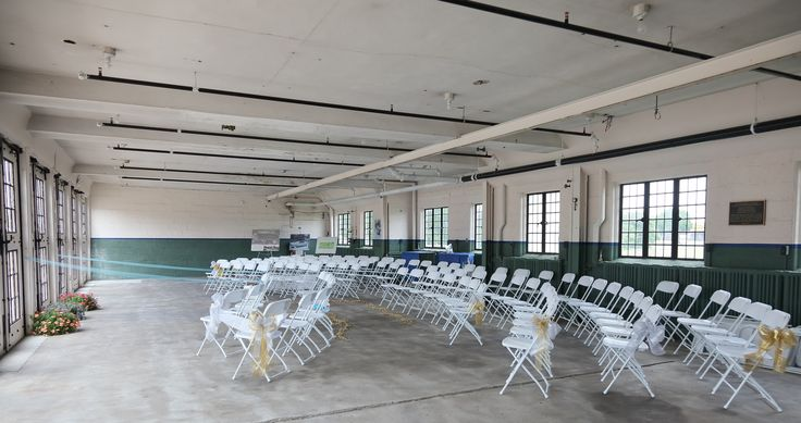 Packard Proving Grounds Wedding  Ceremony space facing the french doors