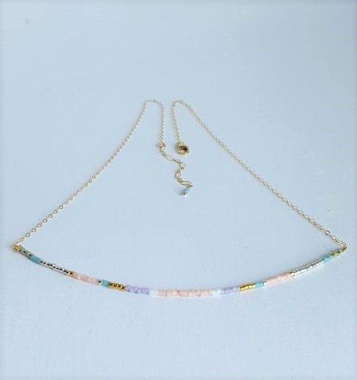 Beaded Pastel Choker Necklace //  Multi-Colour Minimalist Jewelry // Pastel…